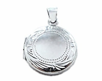 Anti Tarnish Sterling Silver Eye Catching Engraving Design Round Picture Locket Pendent