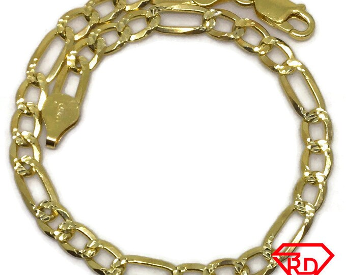 Figaro link Chain 8 inch Bracelet 18K Yellow Gold Layered