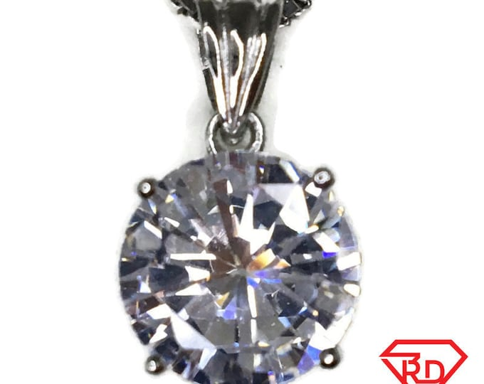 White Birthstone-like Pendant 4 prong Cubic Zirconia & white gold