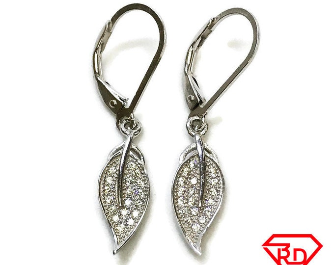 NEW 14K White Gold Layered on .925 Sterling Silver Dangling Leaf Drop Earrings
