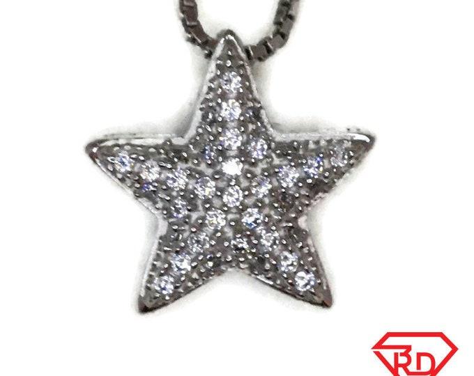 White Gold layer Silver Pendant small sea star & white round CZ