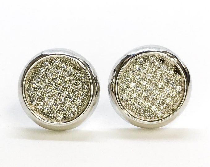 NEW Layered 14K White Gold on Sterling Silver Circle Stud Earrings