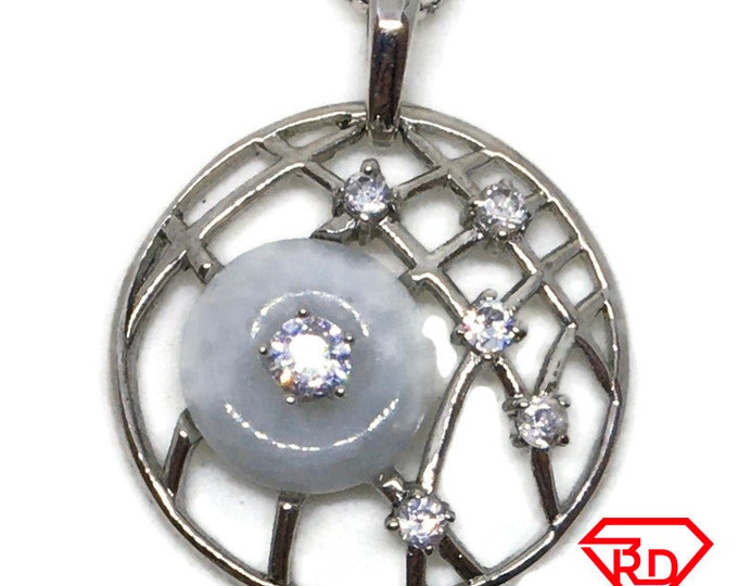 Jade and Cubic Zirconia pendant white Gold on 925 silver