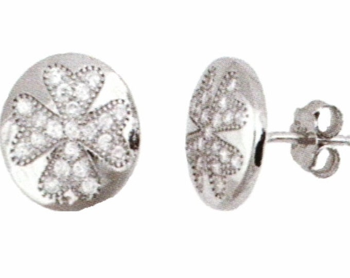 18k w gold layer Irish Four Leaf Clover design on .925 Sterling Silver Micro Pave Earrings