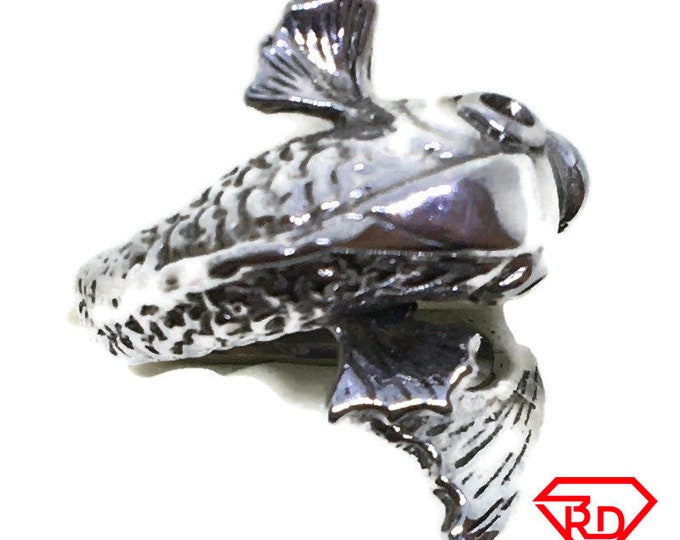 3D Koi fish Ring 14k white gold on Silver (size 5)