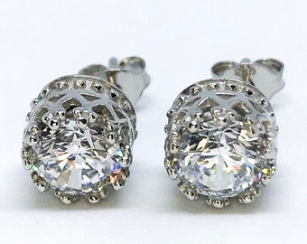 NEW 14K White Gold Layered on Sterling Silver Round Crown Earrings