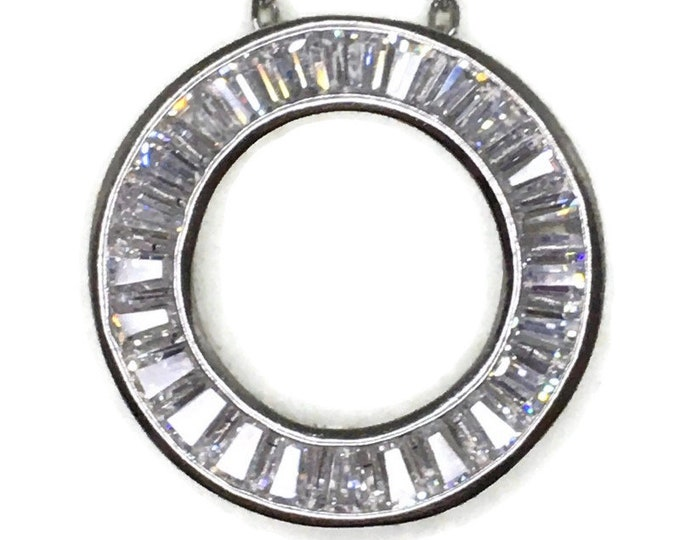 Tapered Baguette Cubic Zirconia Circle pendant white gold on silver