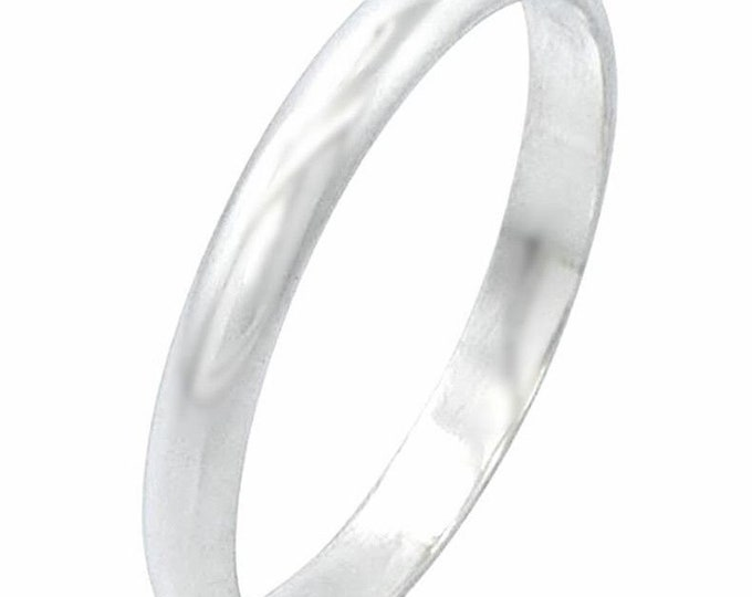 New Handmade solid 999 Silver polished glossy plain wedding Ring Band 5mm Size 8