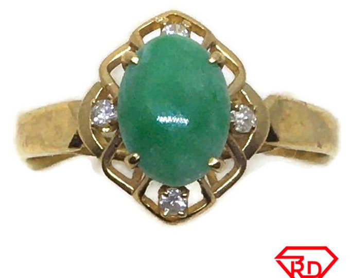 Handcraft 14k diamond and light green jade ring S6 . 75