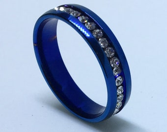 5 . 9 mm Brand New Azure Blue Plated with White Gems in Center Line on Stainless Steel ring band