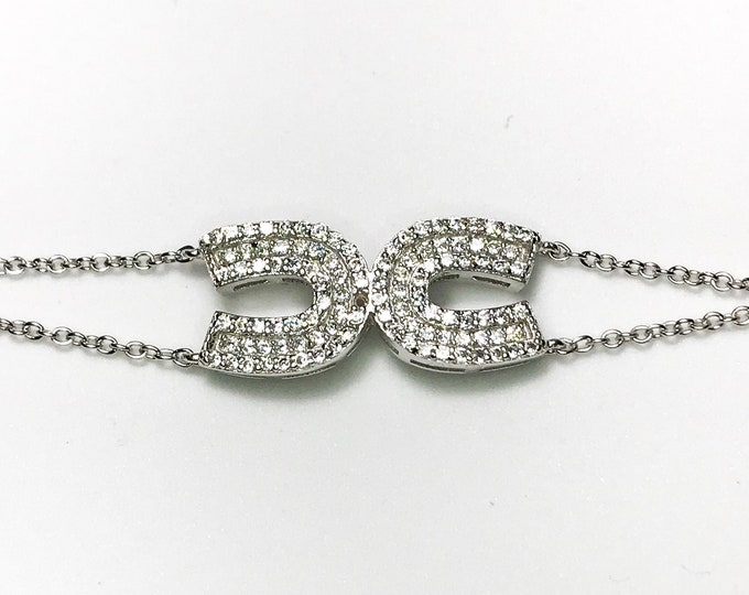 NEW .925 Sterling Silver Horseshoes with Stones Bracelet