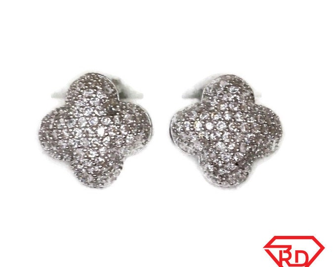 Brand New white gold on 925 Silver Studs Earrings Four Leaf Clover Design with white round CZ ( 14 . 6 mm )