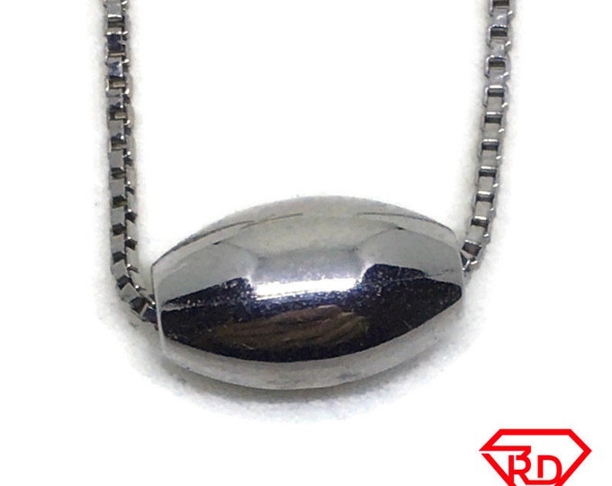Hollow oval bead white gold on silver pendant