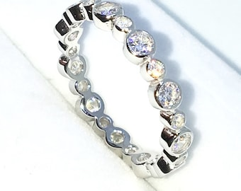 New Handcraft White Gold Plated on Sterling Silver eternity ring band with large and small round white CZ