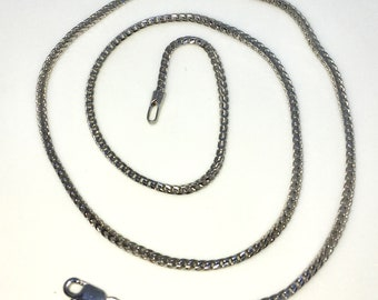 Brand New White Gold on 925 Solid Sterling Silver 16 inch Small Fox Tail Chain Necklace with Lobster Claw Clasp