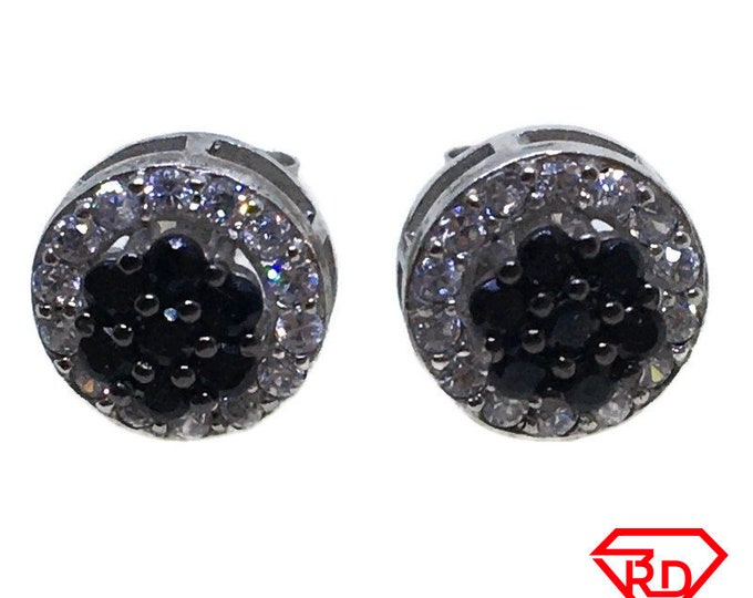 Double layer round black & White CZ stud Earrings white gold layer