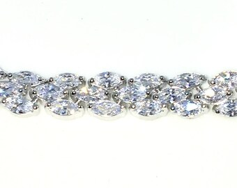 New White Gold Layered 925 Solid Sterling Silver 9 inch Triple row Marquise White CZ Adjustable Pulley Bracelet