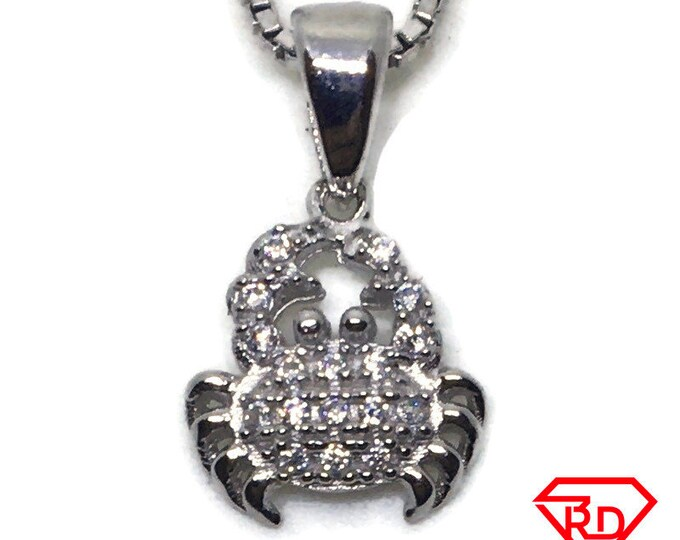 Crab with CZ Tiny charm pendant White gold on Silver