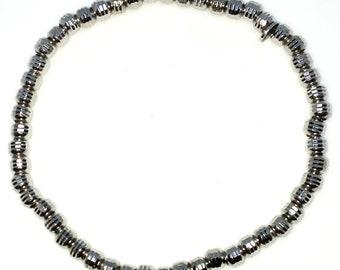 New White Gold Layered on 925 Solid Sterling Silver Elastic Bangle Bracelets with Diamond cut beads