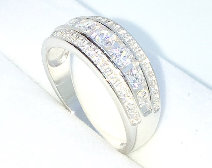 New Handcraft White Gold Plated on Sterling Silver flat ring band