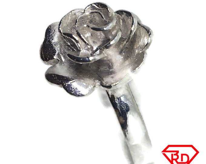 Rose Flower ring band 925 Solid silver S7