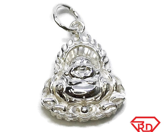 NEW 14K White Gold Layered on .990 Sterling Silver Religious Fat Buddha Pendant