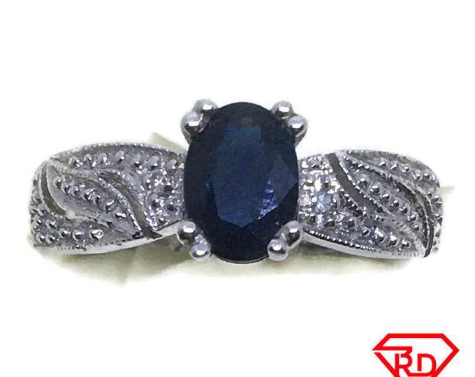 4 prong Sapphire & diamond ring 14k white gold S7