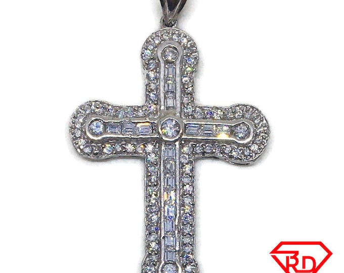 Straight Cross multi CZ charm pendant White gold layer