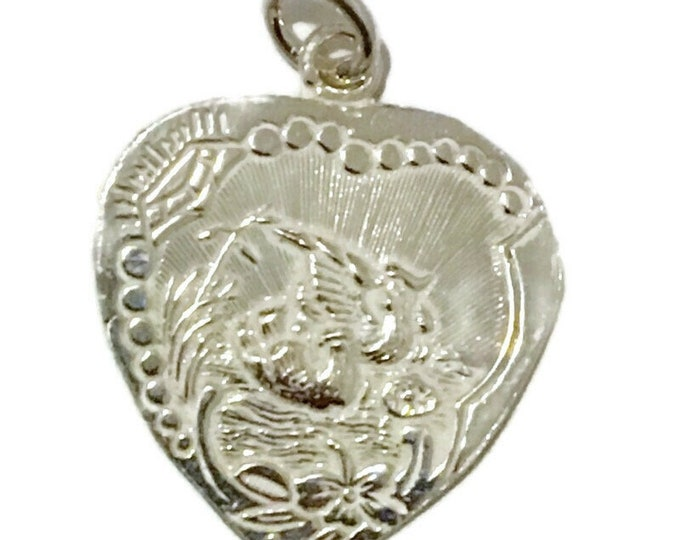 New Silver Pendant heart shape Dove pairs and Marriage