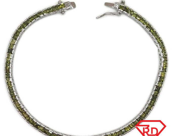 New White Gold Layered Tennis Bracelet square bezel set princess green CZ