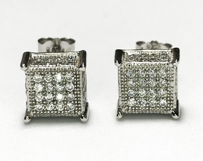 NEW .925 Sterling Silver Cube Shaped with Stones - Stud Earrings