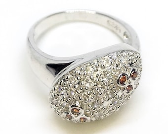 NEW 14K White Gold Layered on Sterling Silver Round Oval with Orange stones ring