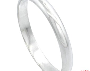 Italy 14k white gold layered on.925 silver high polished wedding band ring 2.9mm Size 12.25