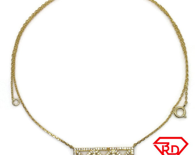 Rectangle X CZ necklace 18 inch chain yellow gold layer