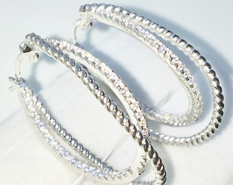 Brand New White Gold on 925 Solid Sterling Silver Twisted Wire and white round CZ Double hoop Earrings ( 23 . 7 mm )