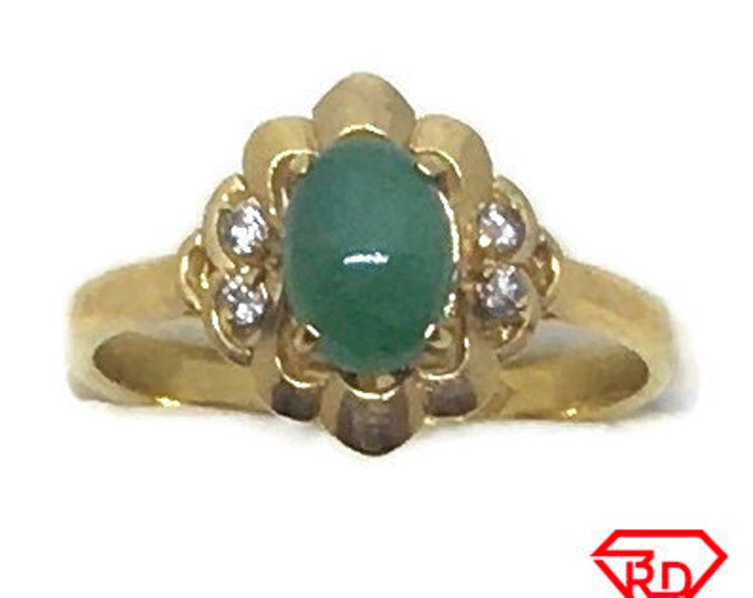 Handcraft 14k diamond and green jade flower ring S5 . 75
