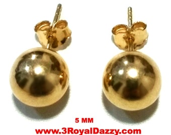 14k Yellow gold layer on 925 Sterling Silver 5 mm Full Round Ball Stud Earrings