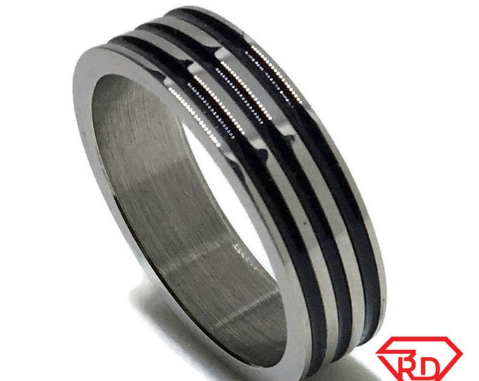 5 . 9 mm Brand New White Gold Plated with Zebra Pattern lines on Stainless Steel ring band