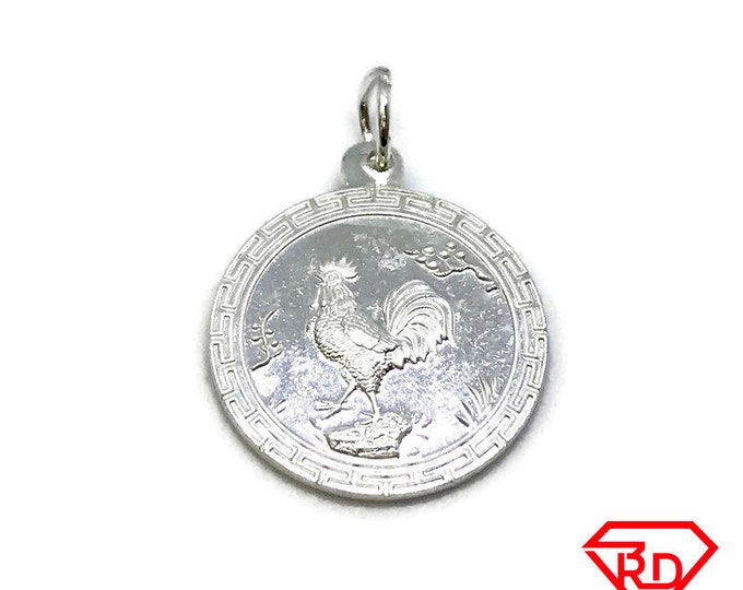 NEW .990 Sterling Silver Year of the Rooster Pendant
