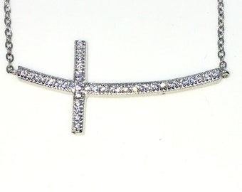 New White Gold Layered 925 Solid Sterling Silver 9 inch Bulgy Cross tiny white CZ Anklets