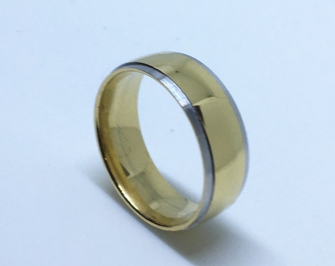 7 . 9 mm Brand New Yellow Gold Plated with Dented Edges on Bulgy Stainless Steel ring band