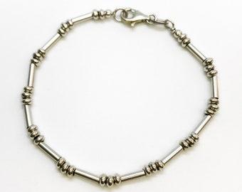 NEW 14K White Gold Layered on Sterling Silver Pattern Bracelet