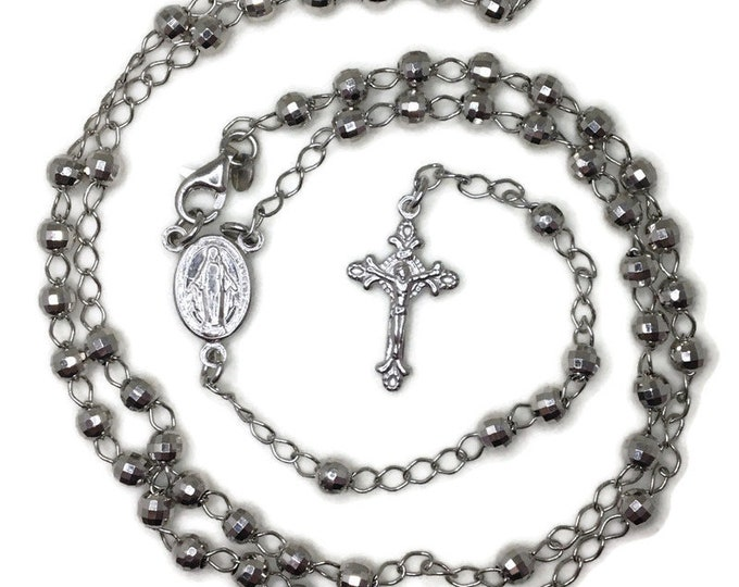 Rosary small disco beads and cross on white gold layer solid silver