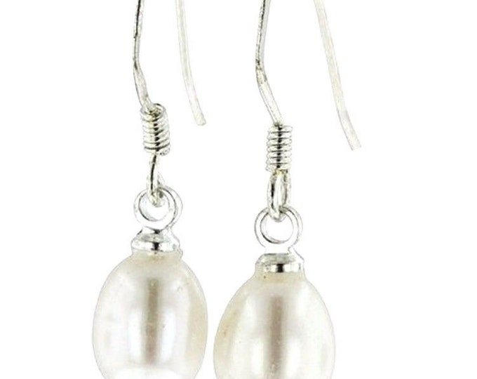 8mm - sterling silver hanging freshwater white pearl fishhook dangling earring
