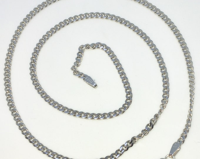 Brand New White Gold on 925 Solid Sterling Silver 18 inch Small Smooth Curb Chain Necklace with Lobster Claw Clasp