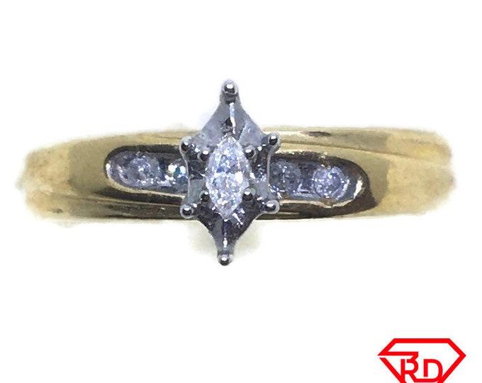 Flower Marquis Diamond ring 14k yellow gold S7