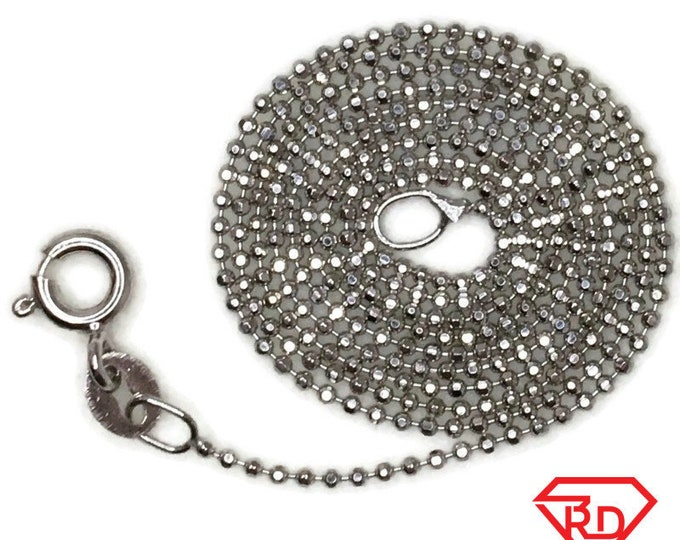 Brand New White Gold on 925 Sterling Silver Necklace 18 inch Tiny Beads chain with Spring Ring Clasp