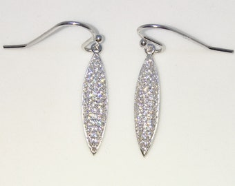 Brand New White Gold on 925 Solid Sterling Silver Marquise shaped white round CZ Dangle Drop Hook Earrings ( 4 . 9 mm )