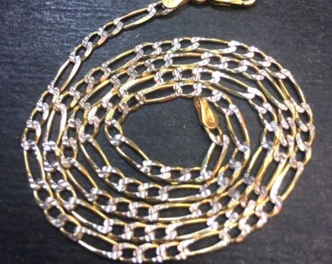 New 14k y w gold layer on solid 925 figaro children chain necklace 2.8mm 20""