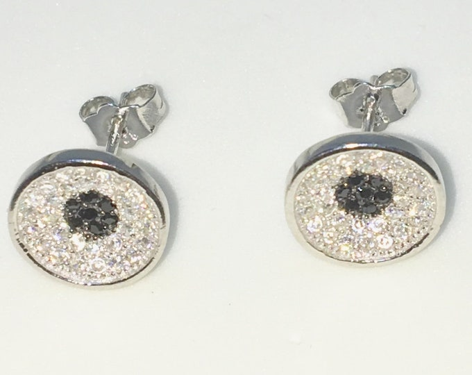 New White Gold on 925 Solid Sterling Silver Circle with black and White round CZ Studs Earrings ( 9 . 6 mm )